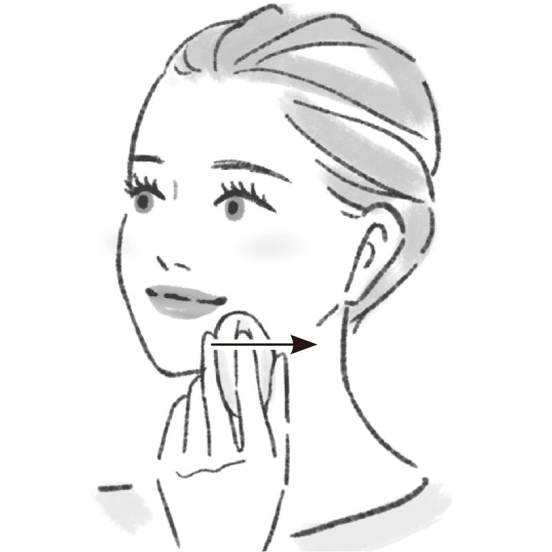 左側の口角の下あたりにパフをおき、骨に沿って真横にエラのあたりまで動かすイラスト