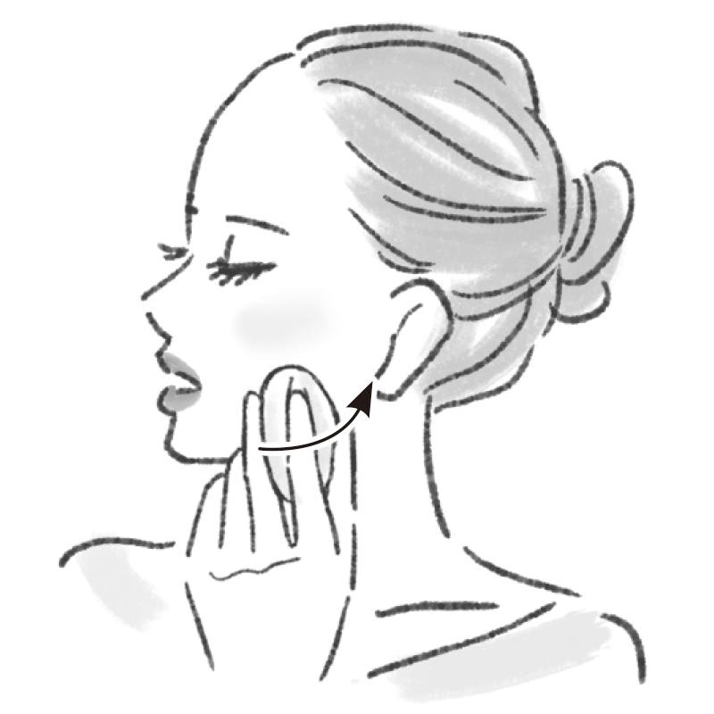 口は開けたまま少し右を向き、あごの中心から歯の根元に沿って耳たぶのあたりまで、パフで骨を感じながら動かすイラスト