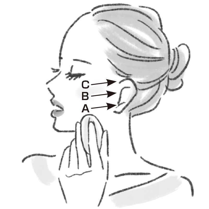 口を開けて右を向いたまま、エラ付近の骨から耳の下に向けて動かすイラスト