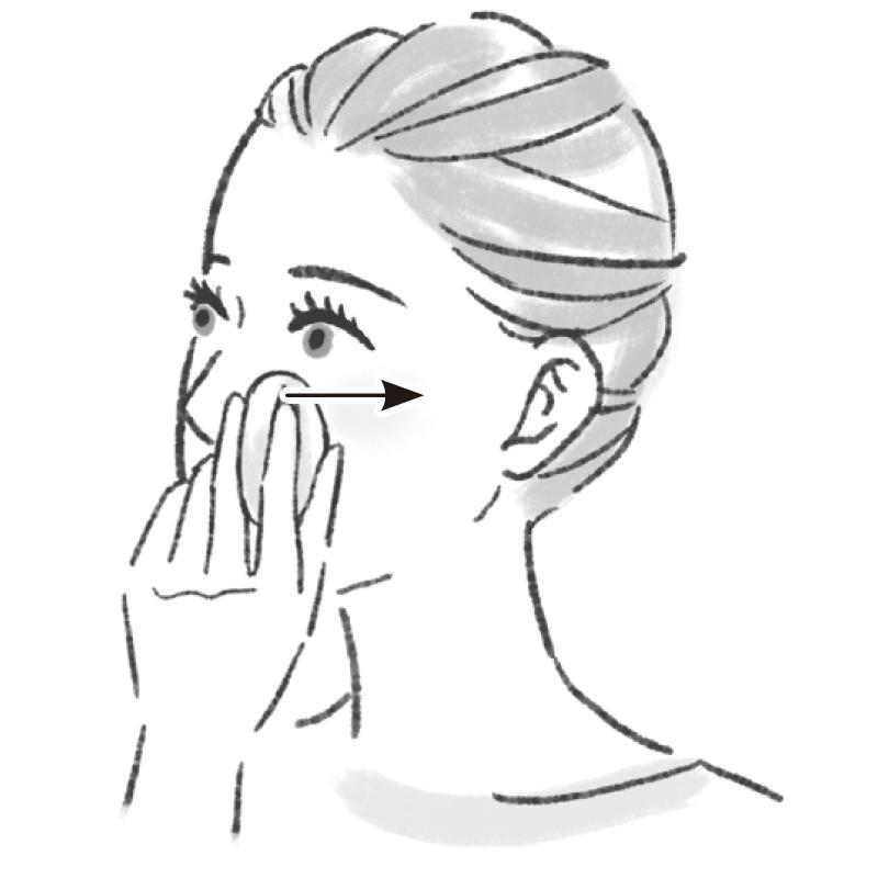 鼻の付け根にある骨にパフをおき、目尻に向かって動かすイラスト