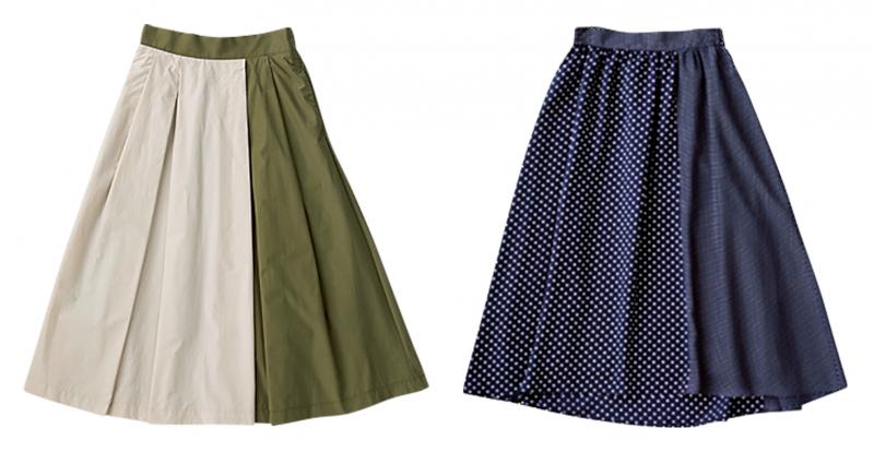 白にカーキ色の切り替えが入ったスカートと、ネイビーにドットと無地の切り替えがあるスカートが並んでいる