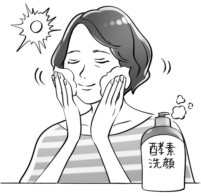 朝、酵素洗顔で顔を洗っている女性