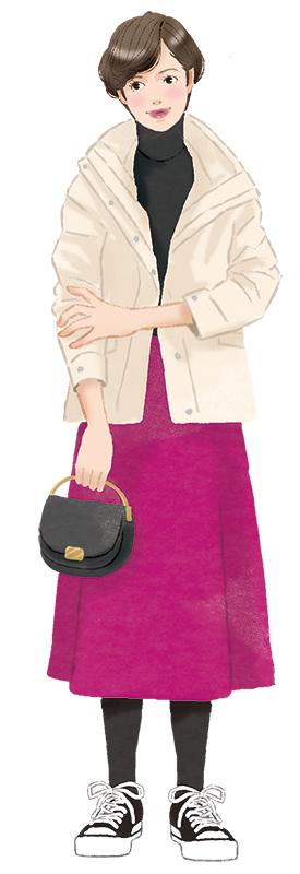 フレアスカートに黒のタイツ、スニーカーを履いている女性のイラスト