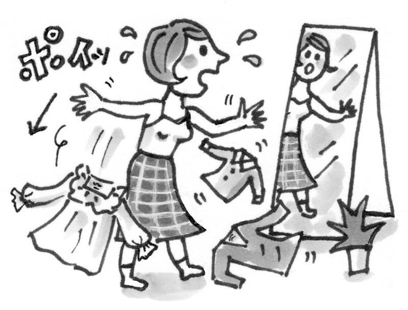 鏡を見ながら服をポイ捨てする女性のイラスト