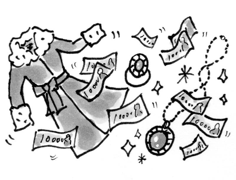 ファー付きコートや宝石、 お札が舞う様子を描いたイラスト