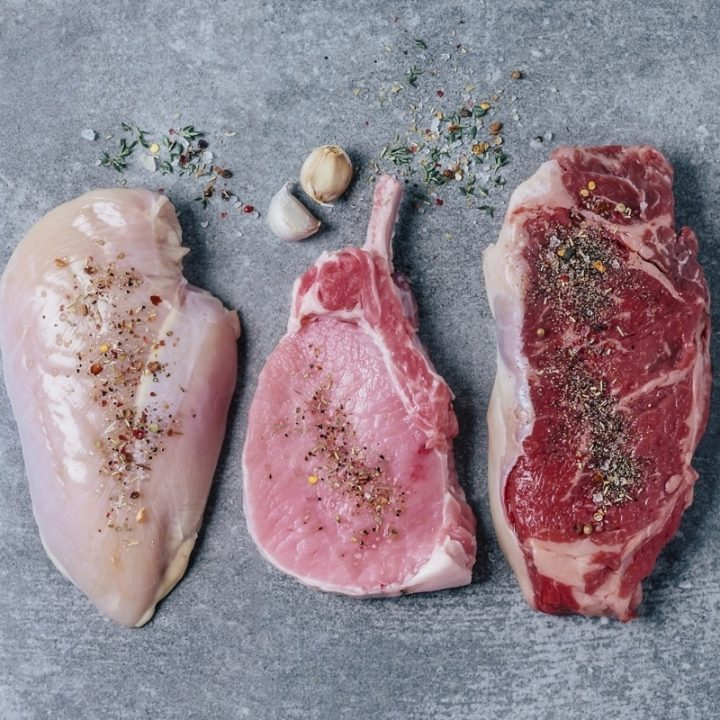 鶏肉、豚肉、牛肉
