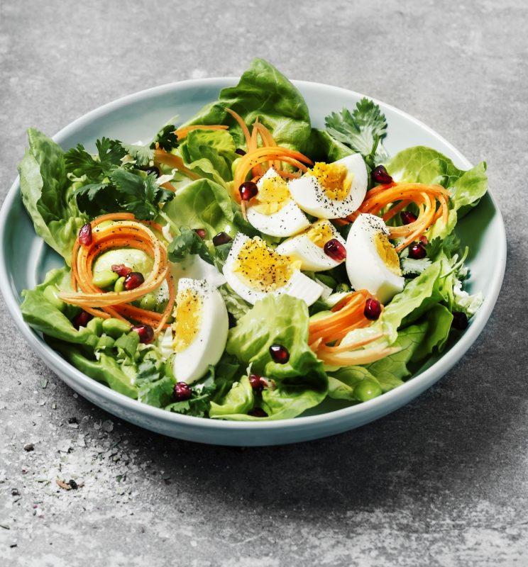 レタスや人参などの野菜にゆで卵が乗ったサラダ
