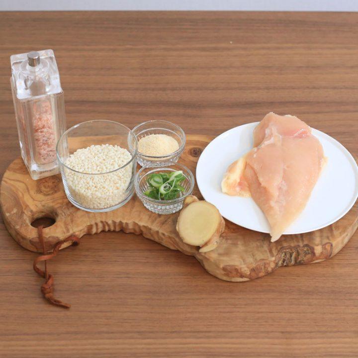 市橋有里がレシピ考案した冷え性改善の「鶏がゆ」材料