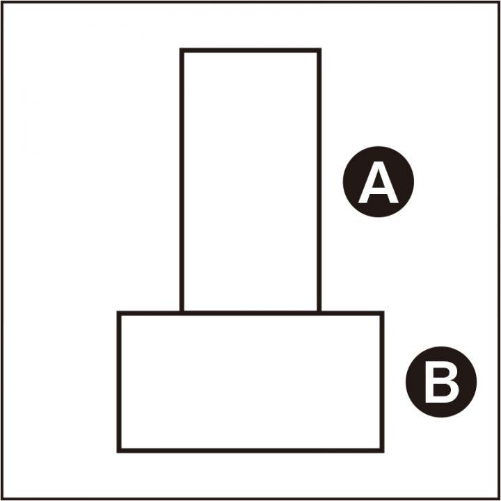 長方形をタテに置いたAと長方形を横に置いたBの図