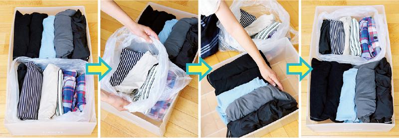 季節毎にビニール袋に入れて分けて収納した衣類の写真