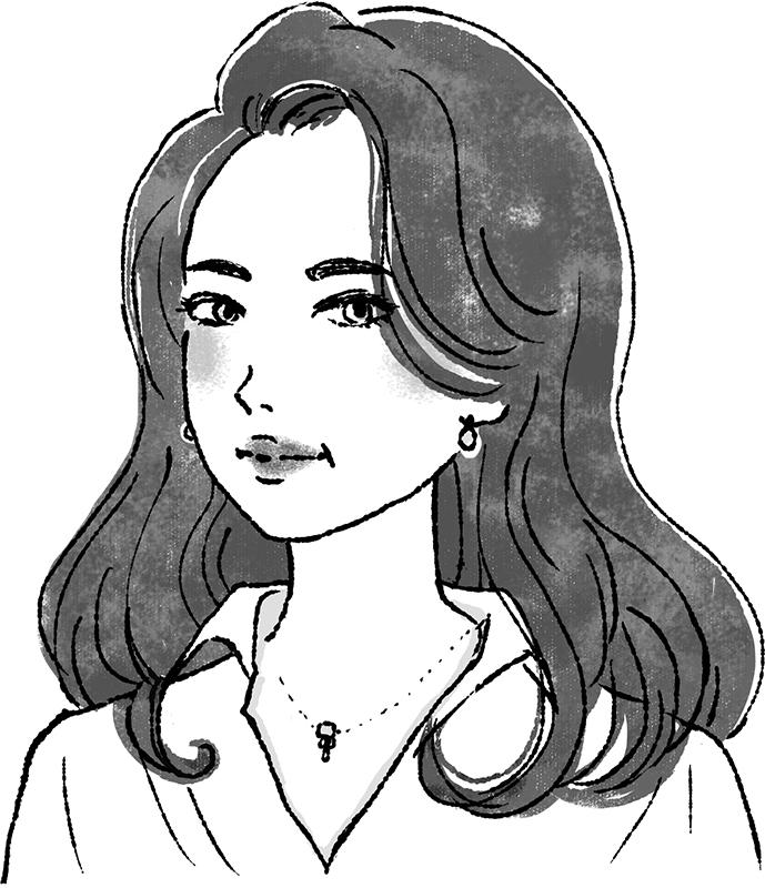 ロングの巻き髪ヘアの女性イラスト