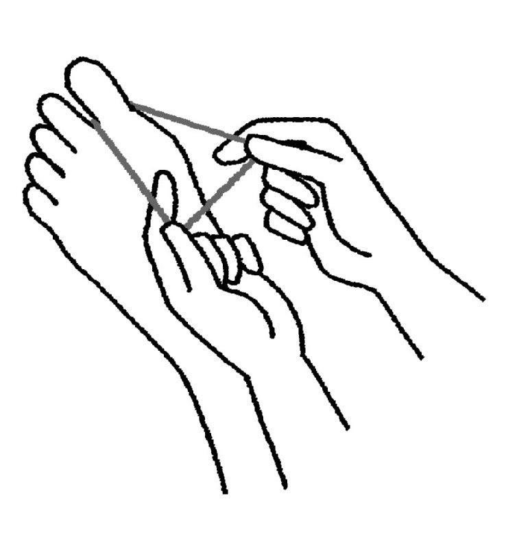 親指に輪ゴムを引っかける