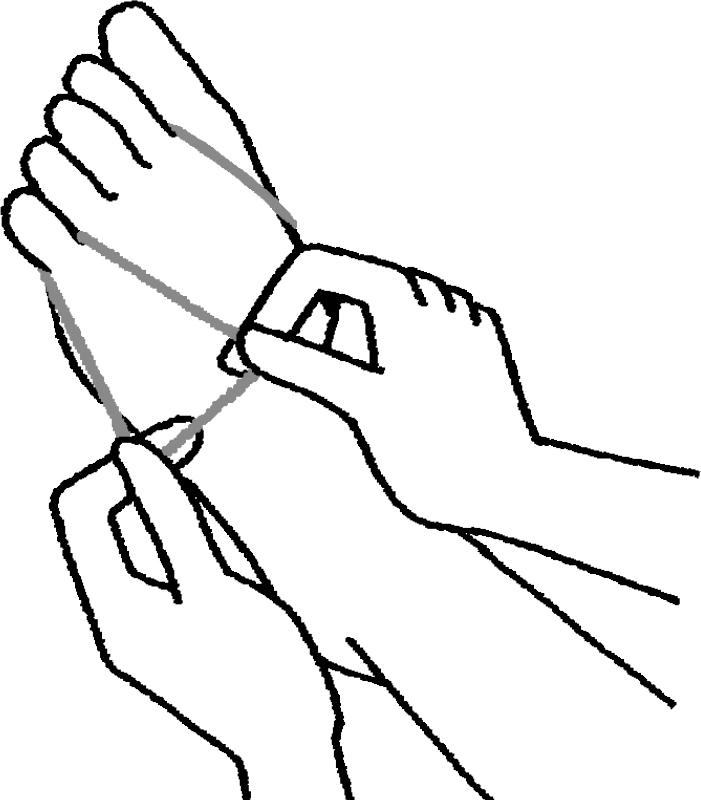 親指と小指に輪ゴムを引っかける