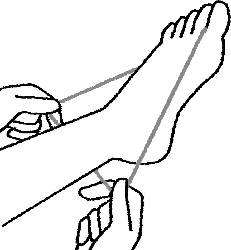 親指にかけた輪ゴムをかかとにかける
