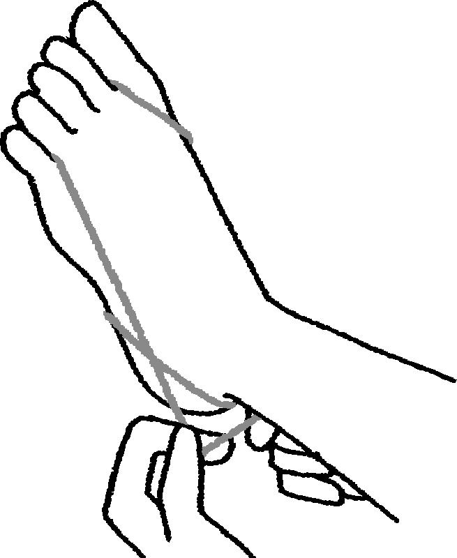 小指にかけた輪ゴムをかかとにかける