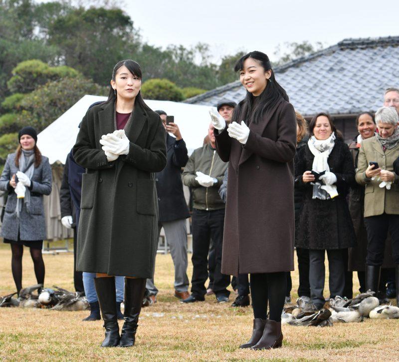 眞子さまと佳子さまのコートの素材や丈が似通っている。