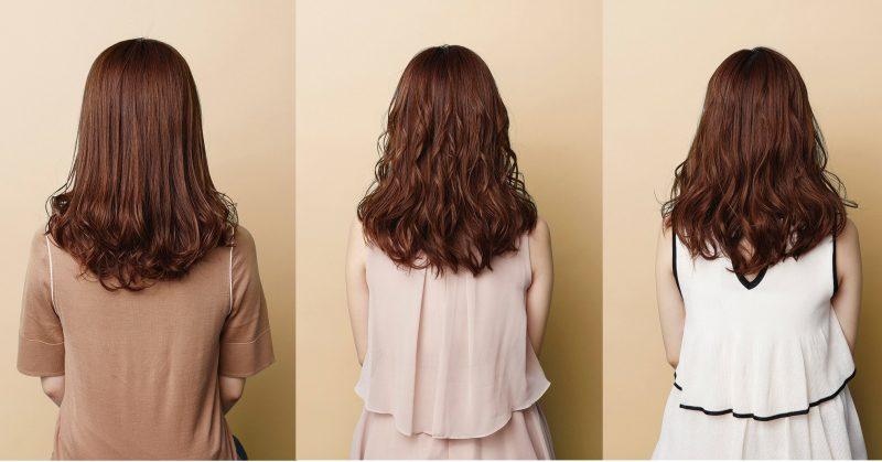ヴィダルサスーン『オートカールアイロンVSA-1110』で作ったカールの太さ違いを表す女性の髪