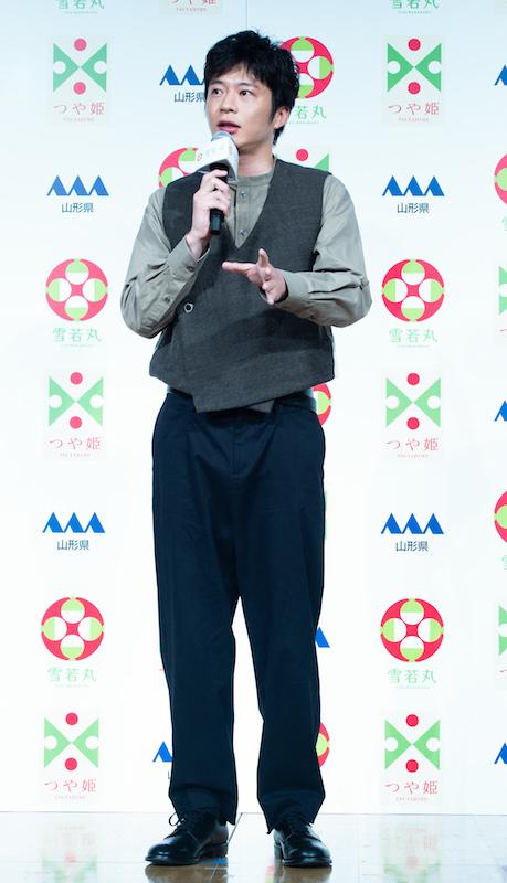 山形県米『雪若丸』の新CM発表会に出席した田中圭