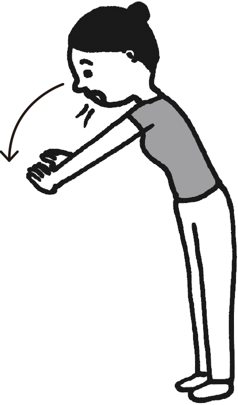 立って両腕を上げた状態からゆっくり下ろしている女性のイラスト