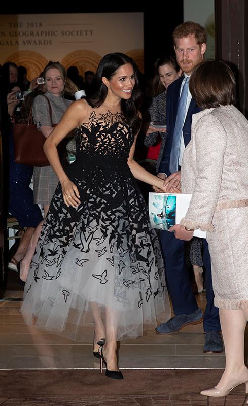 スーツ姿のヘンリー王子と鳥の模様の入ったドレスを着て笑顔のメーガン妃