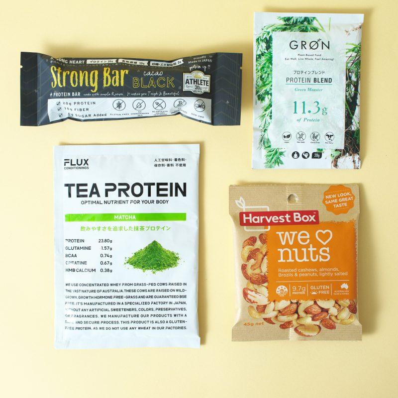 ナチュラルローソンのハーベストボックス スナックパックとGRONのプロテインブレンド(グリーンモンスター)とFLUX CONDITIONINGSのTEA PROTEIN 抹茶とストロングハートのストロング・バー ブラック