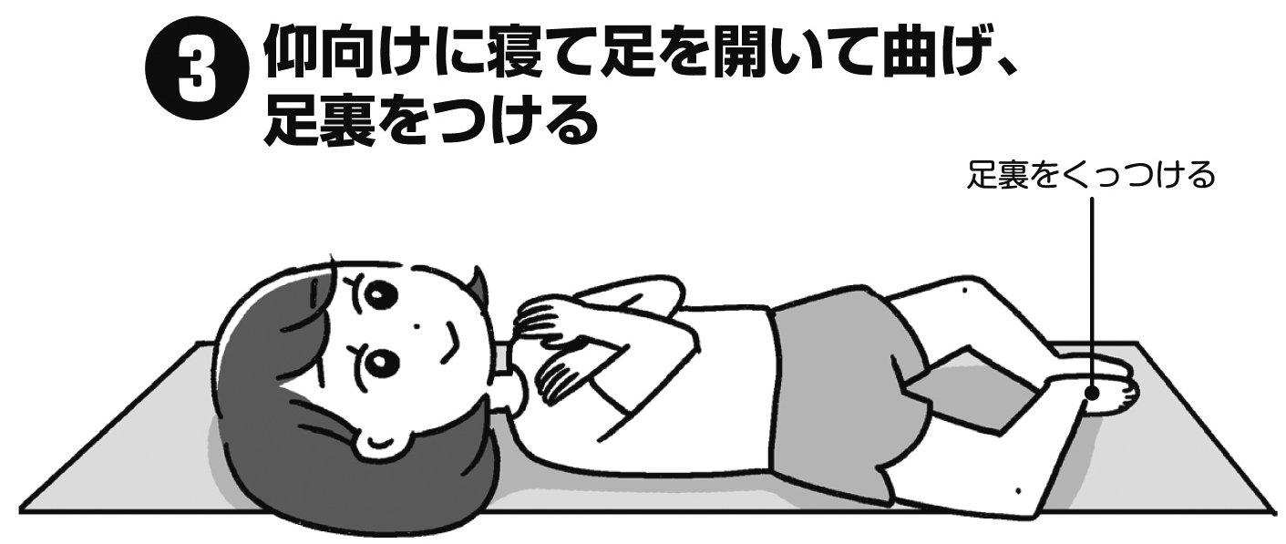 仰向けに寝て足を開いて曲げ、足裏をつけた女性のイラスト