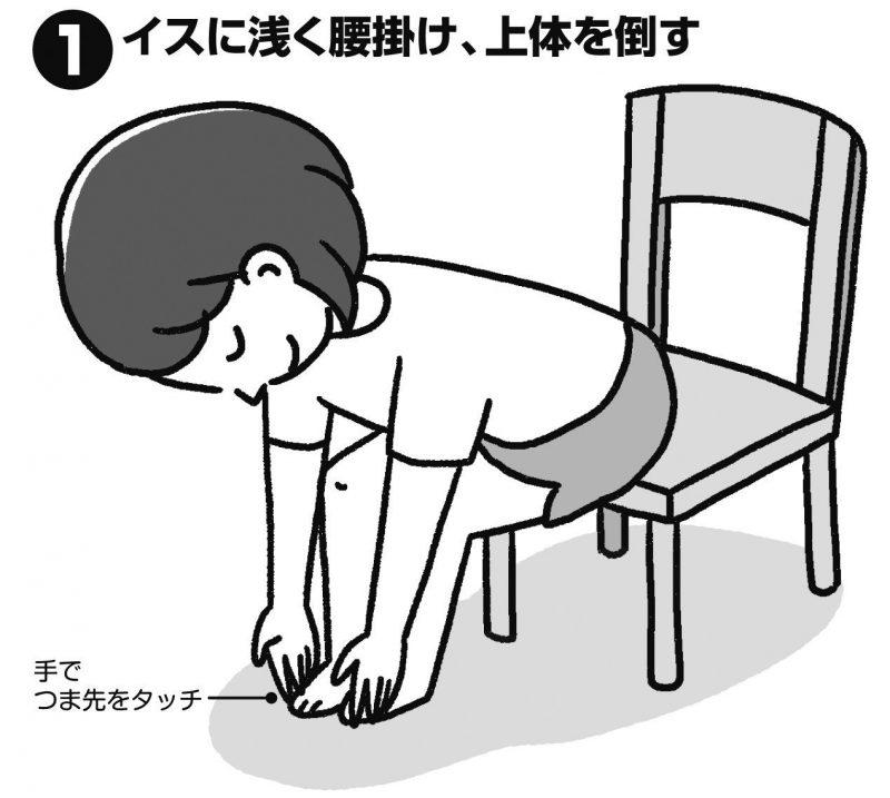 イスに浅く腰掛け、上体を倒す女性のイラスト
