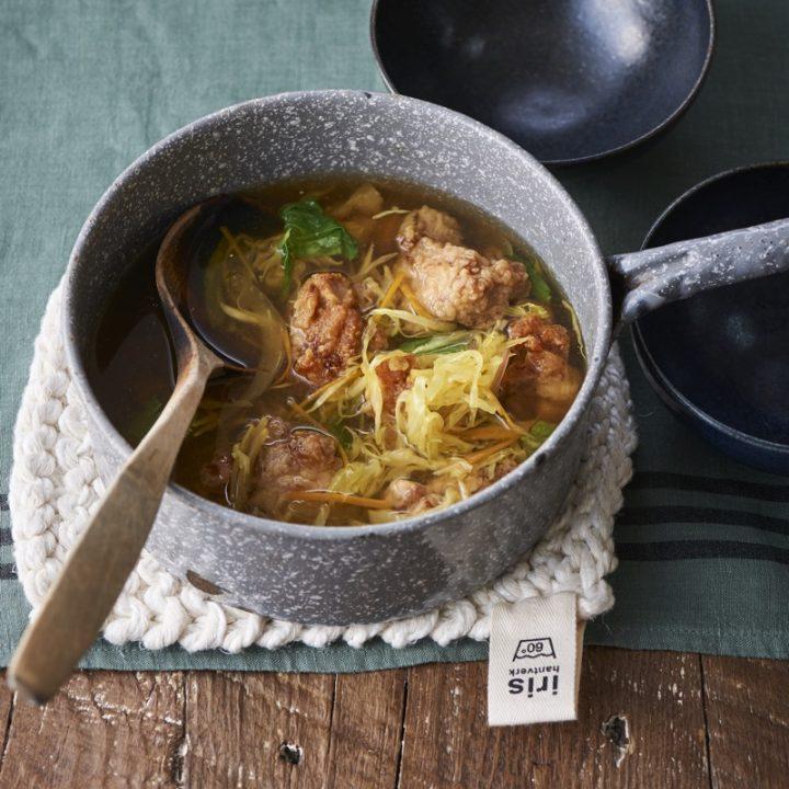 「カット野菜と唐揚げのカレー風味スープ」