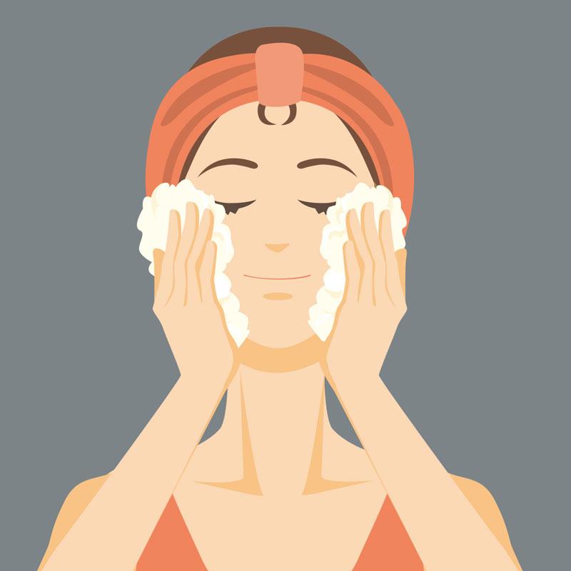 洗顔している女性のイラスト