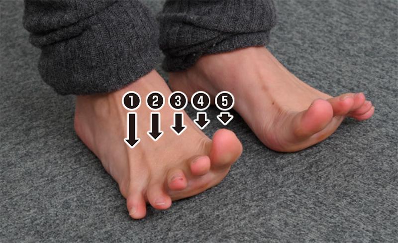 足指をすべて上げた足元写真