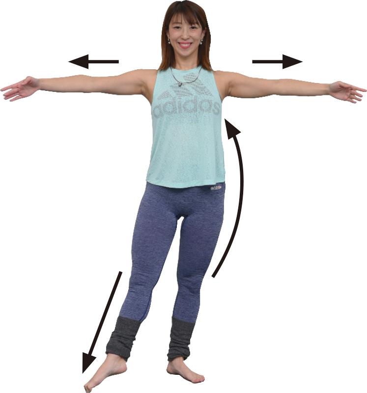 両手を横に伸ばし、足を少し開きながら体を起こし、右足を右斜め前に出す女性