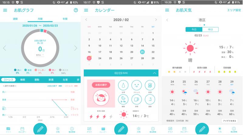 スキンケアアプリ「Curel肌手帳」の使用例画面