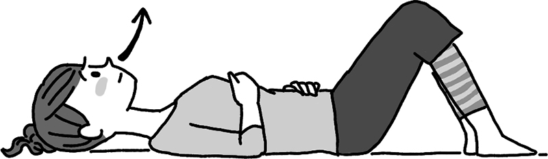 あお向けの姿勢で息を吐く女性のイラスト