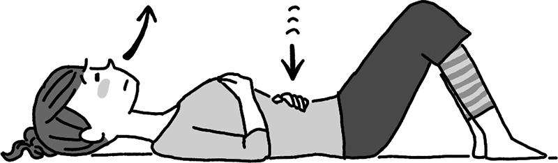 あお向けの姿勢で息を吐きお腹を凹める女性のイラスト