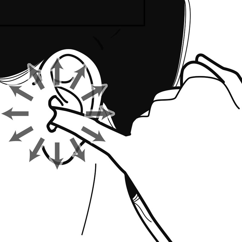 耳の穴に小指を入れたイラスト