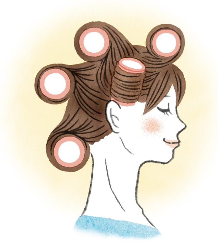 大き目のカーラーで髪を巻いた女性のイラスト