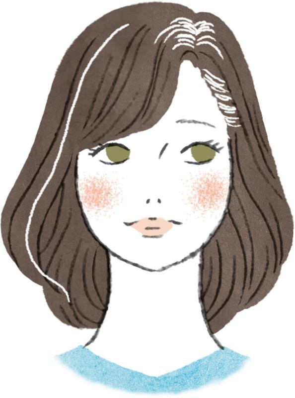 白髪が根元や1本だけなどある女性が憂鬱な表情をしている