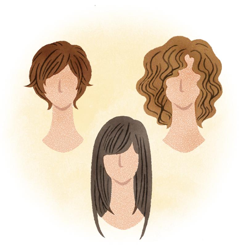 ショートやロング、パーマなど色んなヘアスタイルのウイッグをつけたイメージイラスト