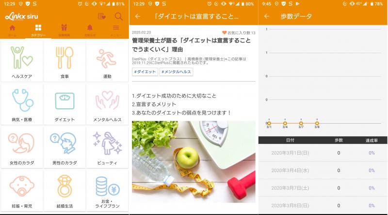 読むだけ見るだけでダイエットできそうなアプリ「リンクロスシル」の使用例画面