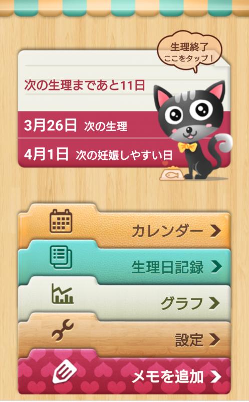 アプリ「生理日排卵日予測」のTOP画面