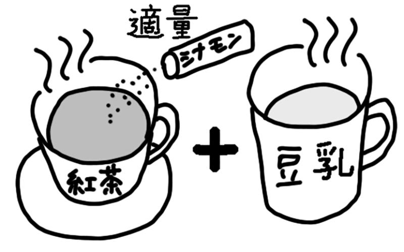 紅茶とホット豆乳のイラスト