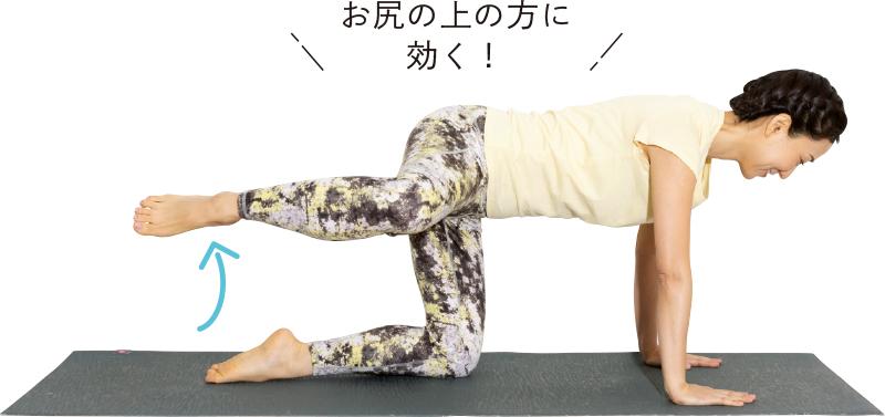 四つん這いの姿勢をキープしたまま片ひざを真横に持ち上げている女性