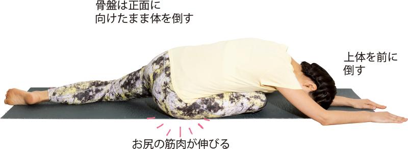 足を前後に開いて前足のひざを90曲げたまま体を倒している女性