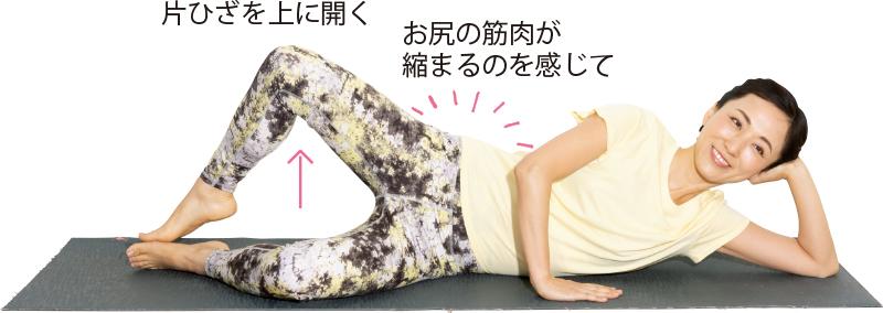 横向きに寝て、下側の腕で頭を支え、上側の腕は胸の前につき、上の足をひざをまげたまま開く女性