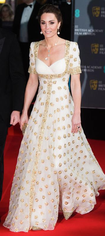 2020年2月「英国アカデミー賞授賞式」で白いドレスを着たキャサリン妃