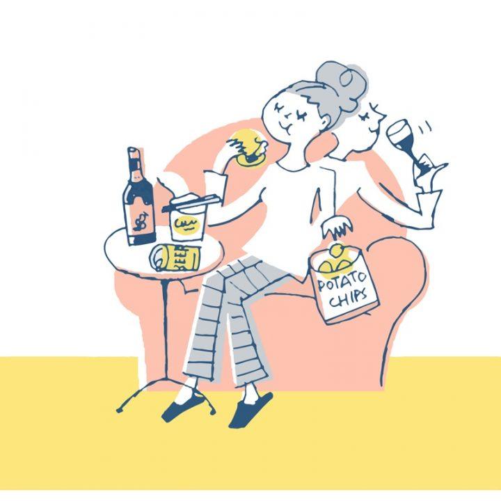 お菓子を食べながらワインを飲む女性のイラスト
