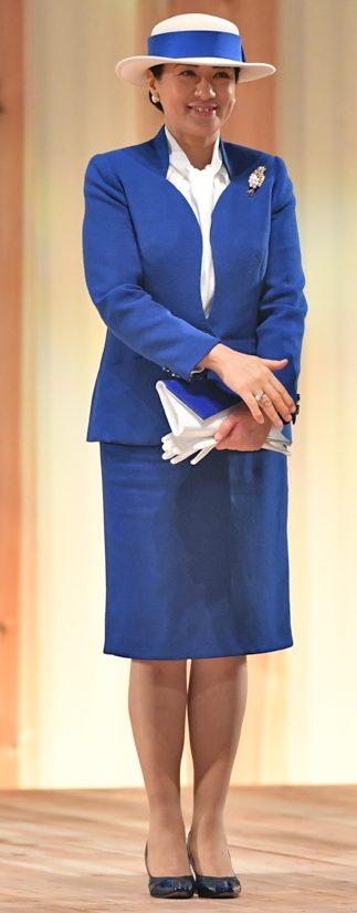 2018年11月「全国育樹祭」でロイヤルブルーのスーツをお召しになる雅子さま
