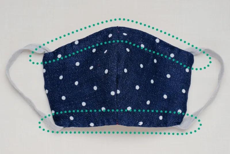 布マスクの上下0.5㎝のところを縫った部分を強調した画像