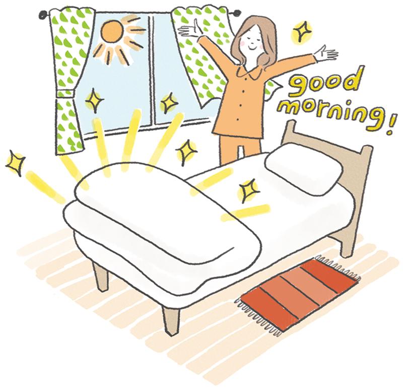 布団をめくって朝起きている女性のイラスト