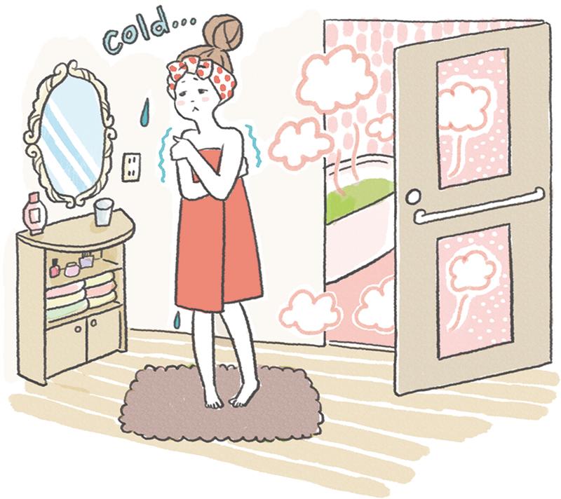 風呂上がりに寒さに震える女性のイラスト